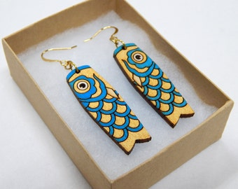 Koinobori Earrings - Gold and Blue color way