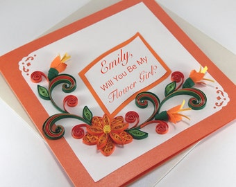 Handmade quilling cards and paper envelopes by stoykasart on etsy flower girl card will you be my flower girl personalised quilling birthday card stopboris Choice Image
