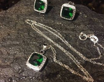 Green Emerald Necklace and earring set-emerald CZ-Earrings- green Necklace and earrings  ,necklaceJewelry-Emerald n