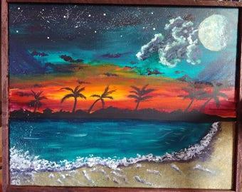 Sunset beach acrylic painting 16×20