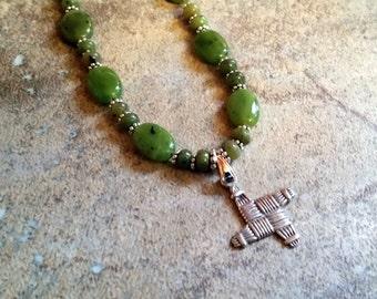 Brigid's cross green jade necklace.