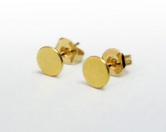 Tiny round stud earring, Dot stud earrings, Small gold earrings, Circle stud earrings, Circle post earrings, Everyday studs, Dainty earrings