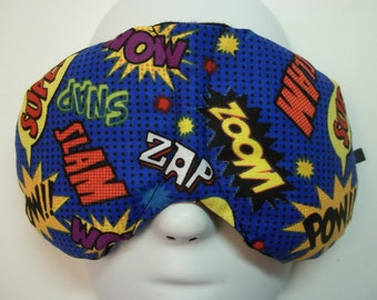 Herbal Hot/Cold Therapy Sleep Mask with adjustable and removable strap Comic Book Words