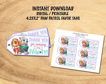 PAW PATROL FAVOR Tags | Skye & Everest Thank You Tags | Instant Download | Digital/Printable