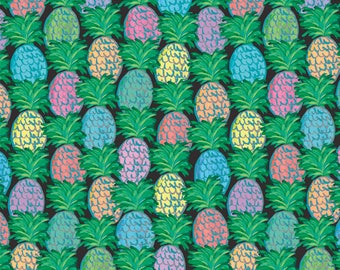 Black Pineapple cotton fabric by Jennifer Paganelli for Free Spirit 137 black