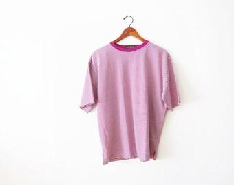 90s shirt - 90s striped shirt - thin stripe t shirt - boxy shirt - 90s clothing - pink stripe shirt - grunge shirt - mens stripe shirt L