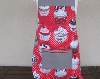 Apron 3-6 years cupcakes red and gray