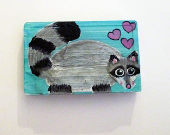 Raccoon Love painting - art on a recycled cassette tape, wildlife wall art, children's room decor, animal lover gift, trash panda, hipster