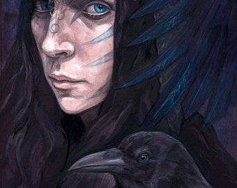 MIDSUMMER SPECIAL 25% OFF ~ The Paths Of Night (The Morrigan) , print (21x29.7cm)