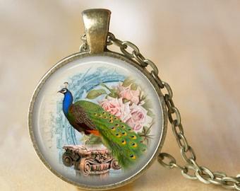 PEACOCK Necklace Bird Glass Pendant Handmade Vintage Peacock Feather Necklace (103)