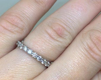 Diamond eternity band, wedding band, white gold eternity band, womens stackable anniversary ring, 14 k white golg band