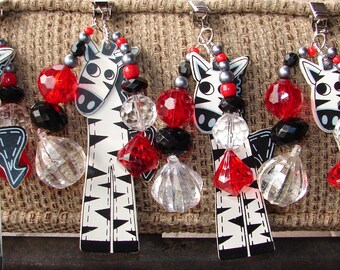 Zebra Red and Black Tablecloth Weights Set of 4