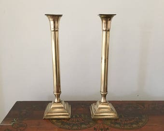 tall glam brass candlestick holders. wedding holiday decor. rustic glam brass candlestick holders. place setting brass candle holder