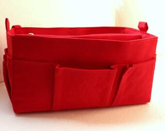 Purse organizer in RED - Bag organizer insert in Rich Red