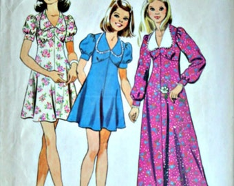 Vintage 70's Simplicity 6186 Sewing Pattern, Girls' Empire Dress In Two Lengths, Size 10, Retro 1970's Kids Fashion