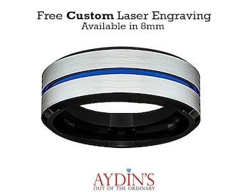 Tungsten Ring Wedding Band Men White Brushed Blue Groove Black Inside Comfort Fit Tungsten Carbide Wedding Ring