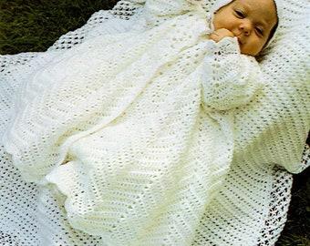 Vintage Crochet Pattern Christening Coat-Bonnet-Blanket