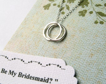 BRIDESMAID Gift Maid of Honor Necklace with POEM Note Card Thank You Gift Sterling Silver Wedding