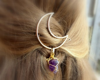 Moon Hair Clip Amethyst Gifts For Women Gift Under 15 For Her Womens Stocking Stuffer College Student Gift 2018 Burning Man Outfit