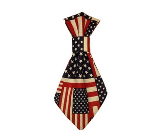 American Flags Dog Tie - Patriotic Pet Tie - Cat Accessory - 4th of July