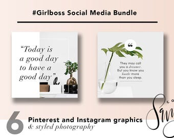 Social Media Bundle - #GirlBoss - Instagram, Pinterest, Blog Graphics and Stock Photos