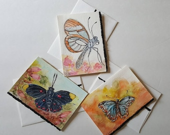 Original Watercolor with pen and Archival ink Note cards - Set of three (3)