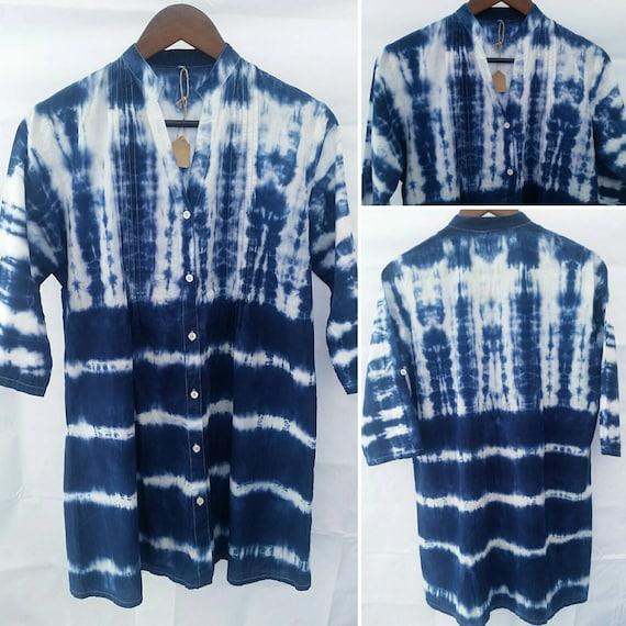 Women's Tie Dye Shibori Tunic/Pintuck Tunic/Indigo Shibori Technique /Cotton/Eco-Friendly Dying