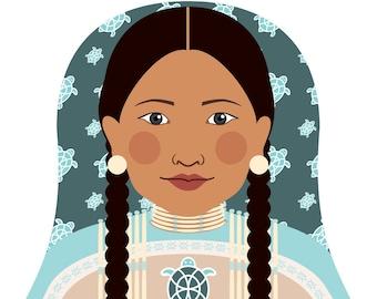 Native American Wall Art Print featuring traditional dress drawing in a Russian matryoshka nesting doll shape