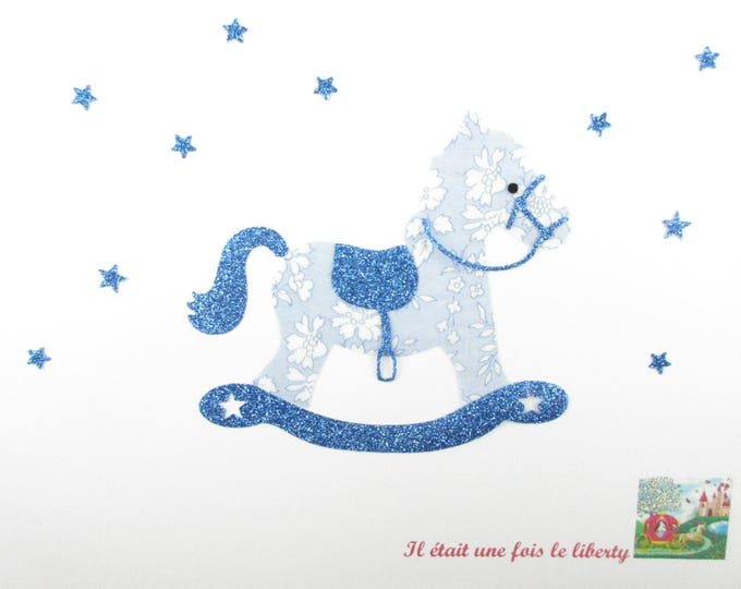 Applied fusible rocking horse fabric liberty Capel blue flex patch baby slip fusible iron-on glitter
