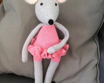 Crocheted ballerina mouse