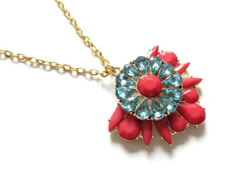 Red and Turquoise Gold Statement Necklace