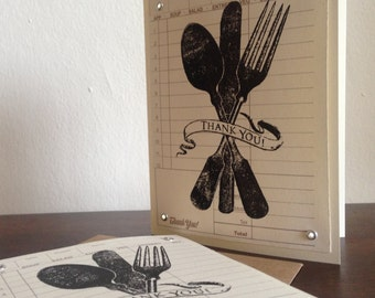 Utensil Thank You - 50-Pack Gocco Screen Printed Thank You Cards