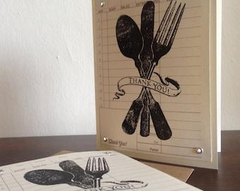Ustensile de Merci - imprimé en sérigraphie de Gocco Pack de 50 cartes de remerciement