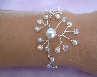 White/Crystal/rhinestone p gown bridal/wedding/party/ceremony/Cocktail style gift (cheap cheap) cultured pearls bracelet