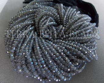 """13"""" silver MYSTIC COATED LABRADORITE faceted gem stone rondelle beads 3mm blue green"""