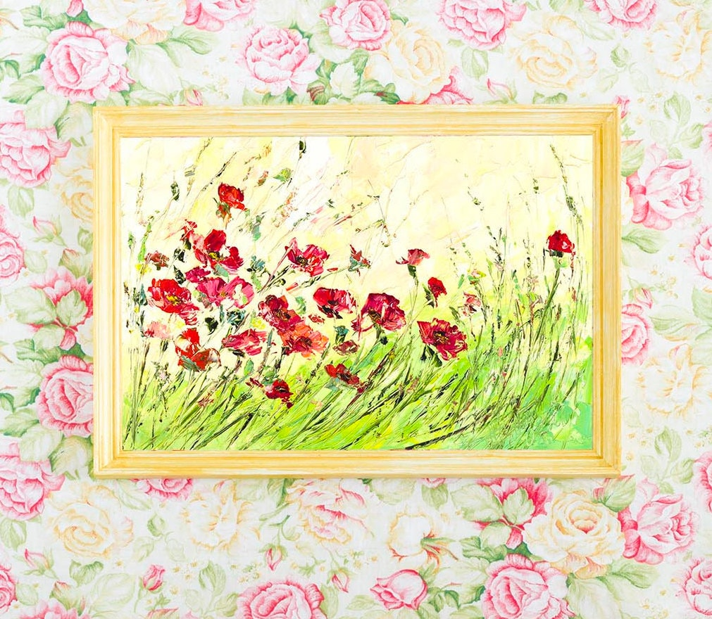 Red Flower Wall Canvas Art Landscape Flowers Red Green Yellow
