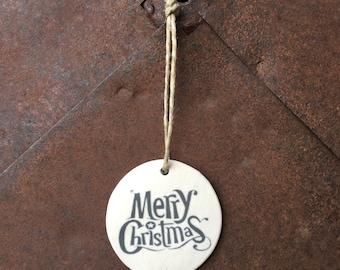 Round, Merry Christmas Ornaments, White Christmas Ornaments, Unique Handmade Ornaments, Ceramic Christmas Ornaments, Christmas Ornaments