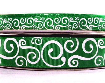 """2 Yards or More 3/8"""" or 7/8"""" US Designer Emerald - Kelly Green with White Scroll - Swirl Print Grosgrain Ribbon"""