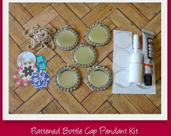Flattened Bottle Cap Pendant Kit- Includes all of the supplies and instructions to make these fabulous pendants- Great for birthday gifts