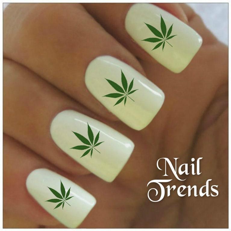 Cannabis Nail Decal 20 Marijuana Vinyl Adhesive Decals Nail