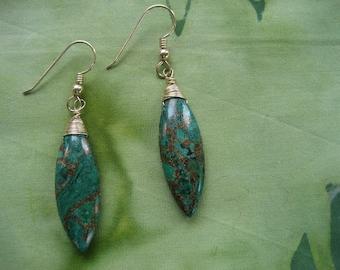 Green azurite marquise earrings
