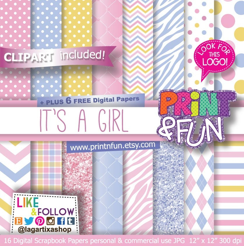 It\'s a Girl Girly Baby Shower Digital Paper Pastel Pink