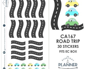 Road Trip Sticker | 30 Kiss-Cut Stickers | Road Trip, Vacation, Day Trip | CA167 |