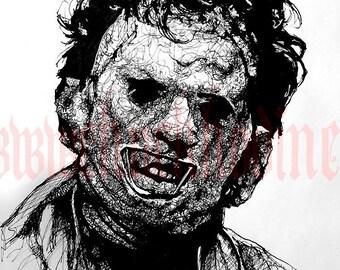 "Print 8x10"" - Leatherface - Texas Chainsaw Massacre Horror Halloween 70s Vintage Dark Art Blood Fetish Freddy Jason Scary Pop Scary"