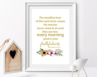 Bible Verse, The steadfast love of the Lord, Lamentations 3:22-23, Christian wall art, Scripture Printable, Floral Wreath art, home decor