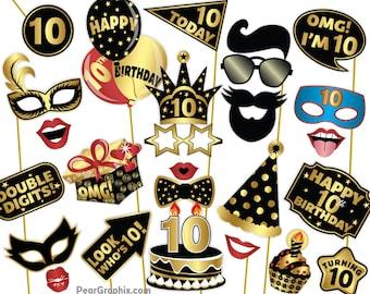 10th Birthday Photo Booth Props, 10th Birthday Girl Boy Photo Props 10th Birthday Decorations Selfie Station Props, Black Gold Printable PDF