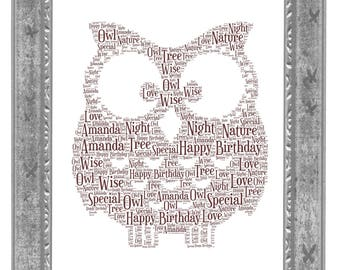 Personalised Owl  Word Art Print Christmas  Birthday Fathers Day Custom Print Nursery Decor  Baby Gift Brown Owl Brownies