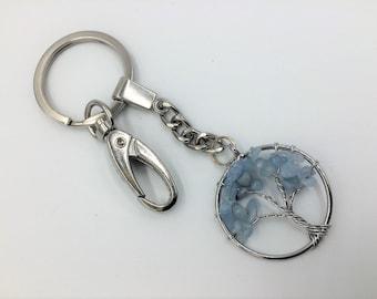 Tree of Life Beaded Purse clasp Charm; keychain charm, zipper pull, Reiki jewelry, gifts, Aquamarine Keychain, Tree Keyring, Purse charm