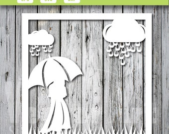 Download - card - Girl with umbrella