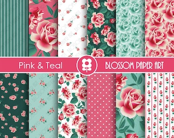 Teal Pink Digital Paper Floral Digital Papers, Scrapbooking Paper Pack, Pink & Teal Floral Papers - INSTANT DOWNLOAD - 1914